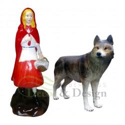 Figura dekoracyjna Czerwony Kapturek z wilkiem